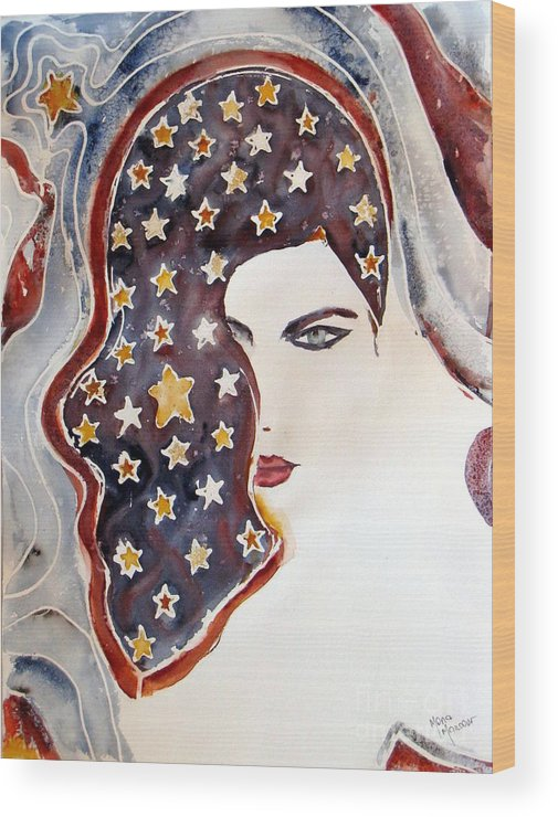 Stars Wood Print featuring the painting Starry Night by Mona Mansour Jandali