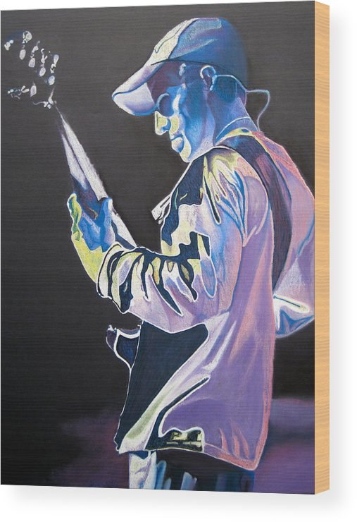 Stefan Lessard Wood Print featuring the drawing Stefan Lessard Colorful Full Band Series by Joshua Morton