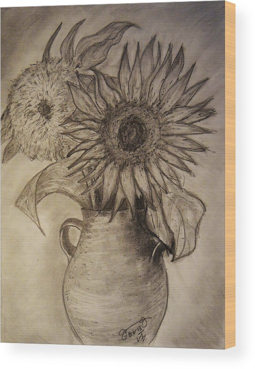 Still Life Wood Print featuring the drawing Still Life Two Sunflowers In A Clay Vase by Jose A Gonzalez Jr