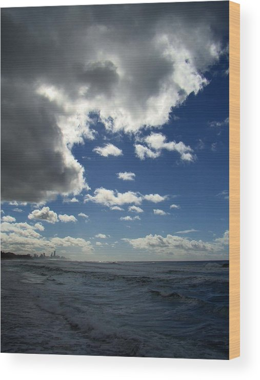 Nobody Wood Print featuring the photograph Stormclouds At Burleigh by David and Mandy