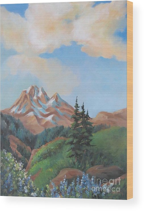 Landscape Wood Print featuring the painting Summer At Kananaskis 2 by Marta Styk