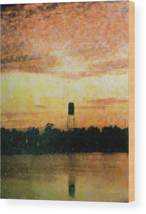 Landscape Wood Print featuring the mixed media Sunset Over Tarpon Springs by Florene Welebny