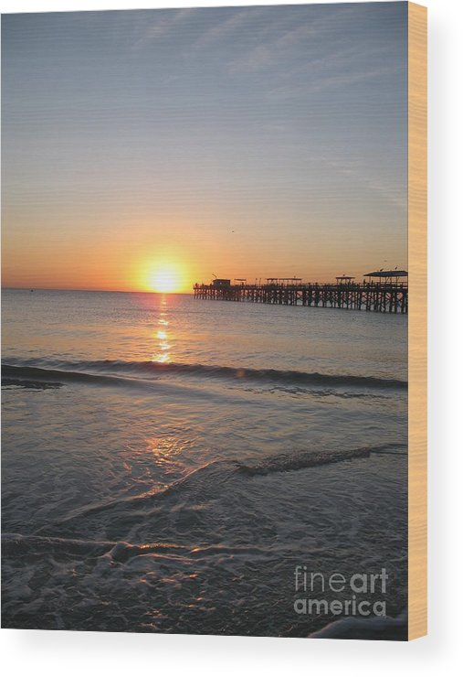 Sunset Wood Print featuring the photograph Fishingpier Sunset by Christiane Schulze Art And Photography