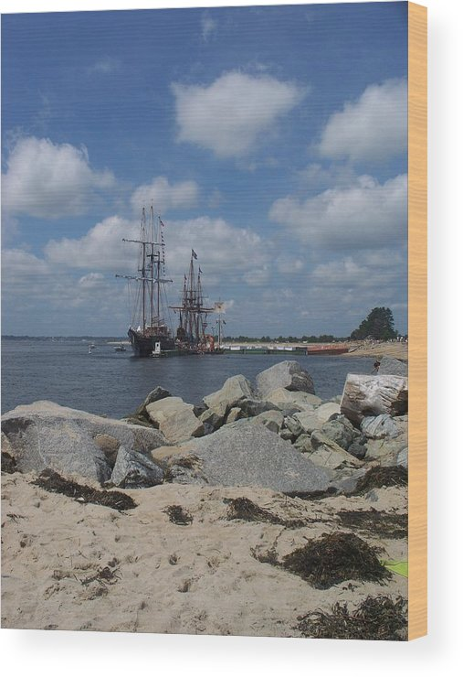 Seascape Wood Print featuring the photograph Tall Ships In The Distance by Rosanne Bartlett