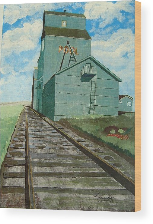 Elevator Wood Print featuring the painting The Grain Elevator by Anthony Dunphy