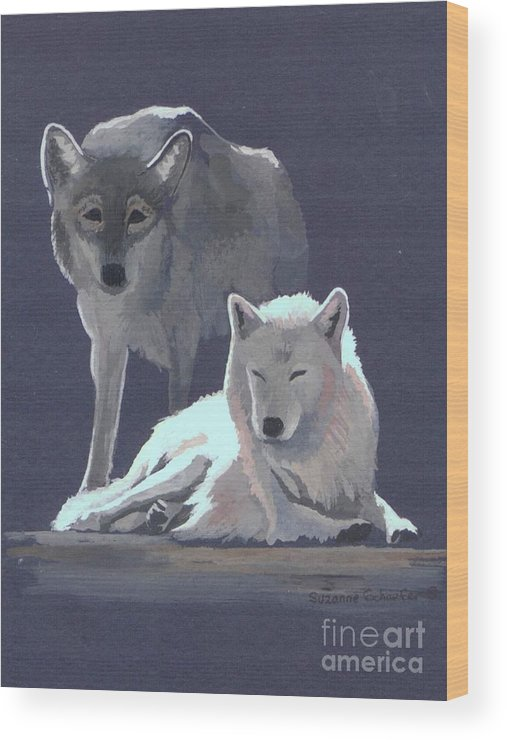 Wolves Wood Print featuring the painting The Guardian by Suzanne Schaefer
