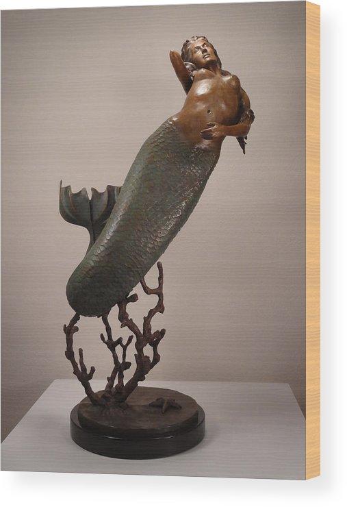Mermaid Wood Print featuring the sculpture The Mermaid by Lisbeth Sabol
