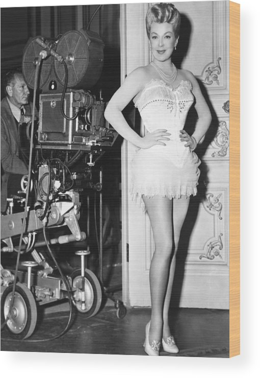 1950s Candids Wood Print featuring the photograph The Merry Widow, Lana Turner On Set by Everett