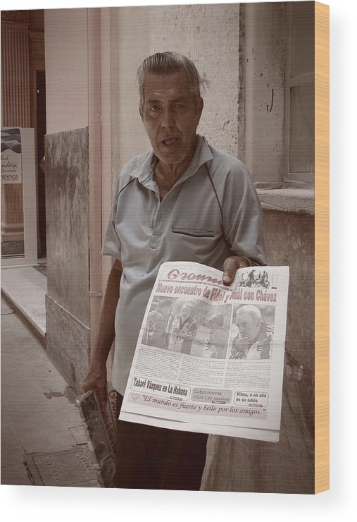Newspaper Wood Print featuring the photograph The Newspaper Seller by Beth Goddard