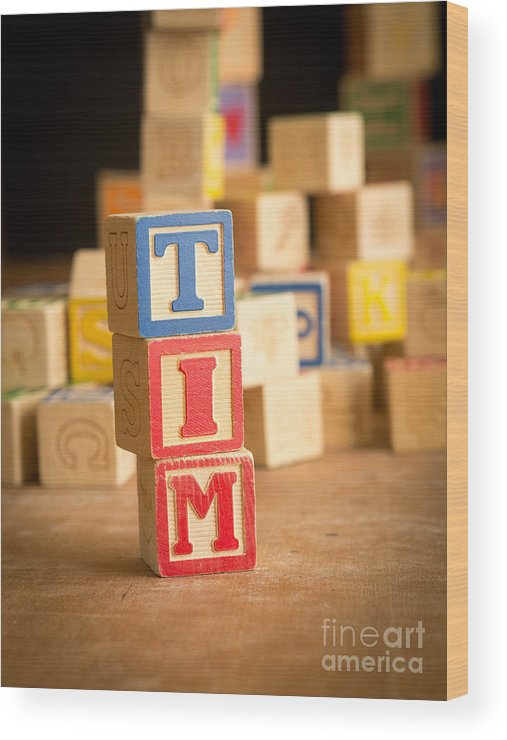 Abcs Wood Print featuring the photograph Tim - Alphabet Blocks by Edward Fielding