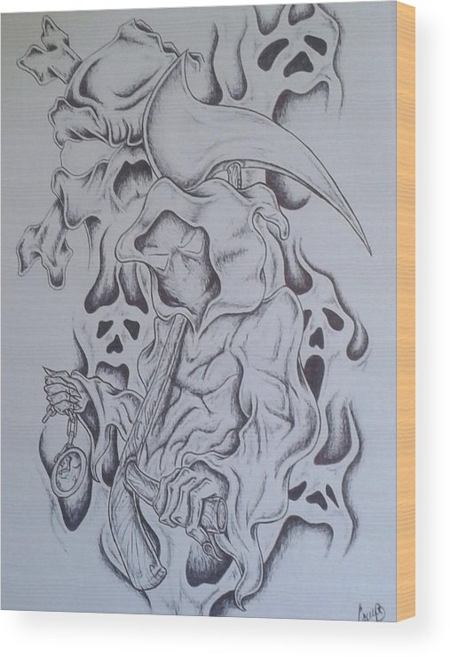 Reaper Skull Watch Smoke Wood Print featuring the drawing Time's Up by Jeffrey Lamey