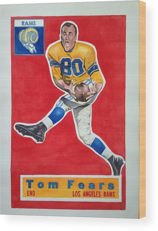 Los Angeles Rams Wood Print featuring the painting Tom Fears by Robert Myers