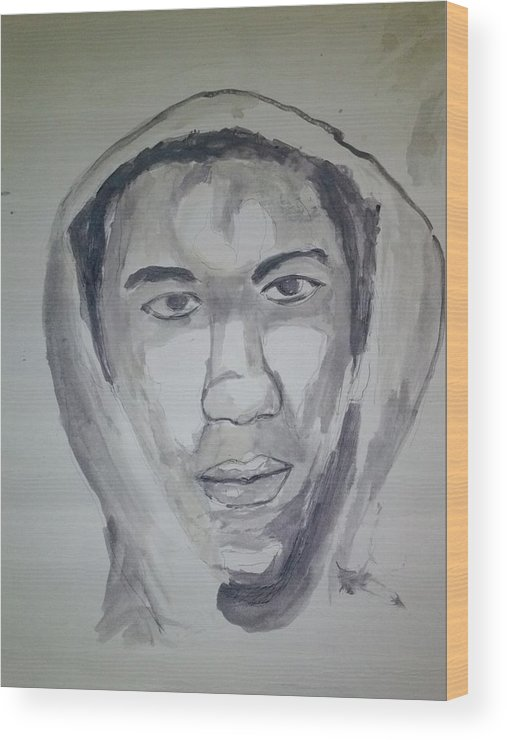 Black Art Wood Print featuring the drawing Trevon Martin by Troix Johnson