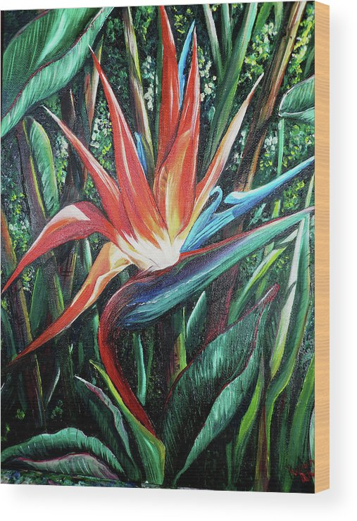 Floral Wood Print featuring the painting Tropical Bird by Karin Dawn Kelshall- Best