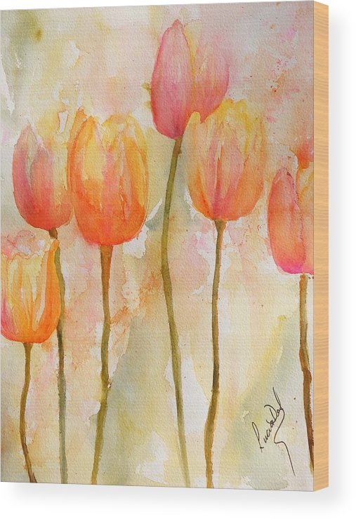 Watercolour Wood Print featuring the painting Tulips by Lucia Del