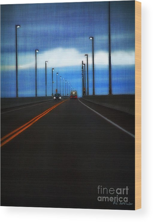 Cars Wood Print featuring the painting Two-lane Blacktop by RC DeWinter