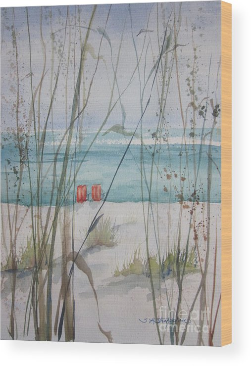 Marco Island Wood Print featuring the painting Two Orange Chairs by Sandra Strohschein