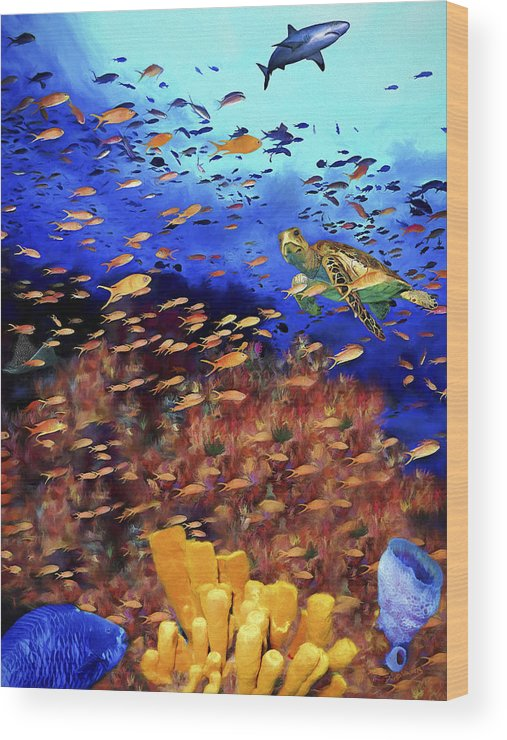 Bahamas Wood Print featuring the painting Underwater Wonderland by David Wagner