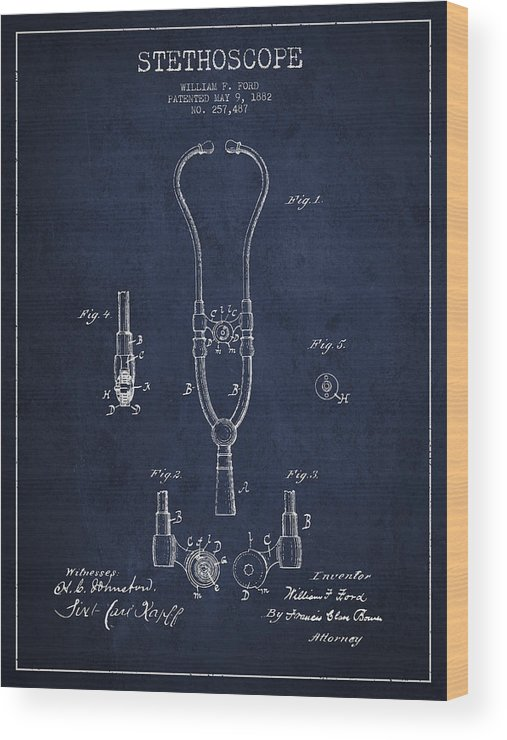 Stethoscope Wood Print featuring the digital art Vintage Stethoscope Patent Drawing From 1882 - Navy Blue by Aged Pixel