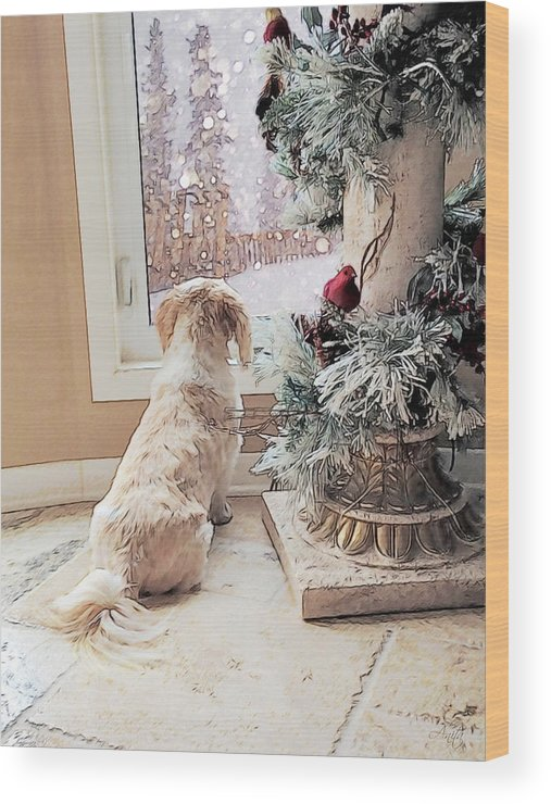 Puppy Wood Print featuring the digital art Waiting by Anita Hubbard