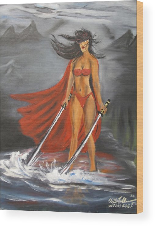 Black Women Samari Painting Wood Print featuring the painting Waters Edge by ChrisMoses Tolliver