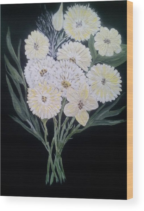 White Bouquets Wood Print featuring the painting White Bouquet by Dawn Randle