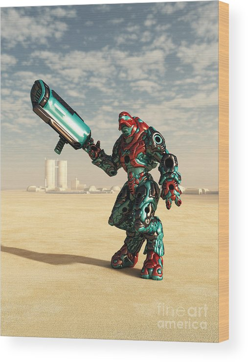Robot Wood Print featuring the photograph Who Needs Camouflage by Fairy Fantasies