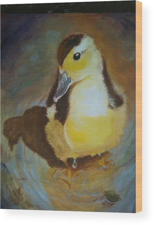 Wildlife Wood Print featuring the painting Wild Duckling by Terrye Philley