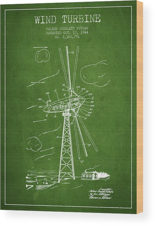 Wind Turbine Wood Print featuring the digital art Wind Turbine Patent From 1944 - Green by Aged Pixel