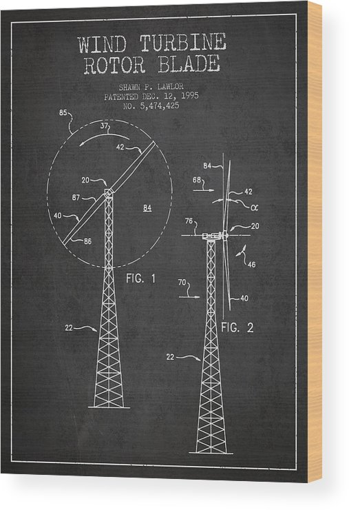 Wind Turbine Wood Print featuring the digital art Wind Turbine Rotor Blade Patent From 1995 - Dark by Aged Pixel