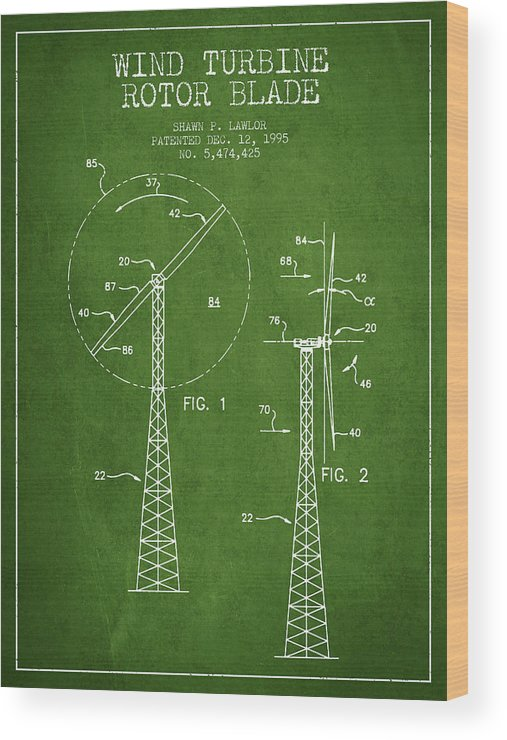 Wind Turbine Wood Print featuring the digital art Wind Turbine Rotor Blade Patent From 1995 - Green by Aged Pixel