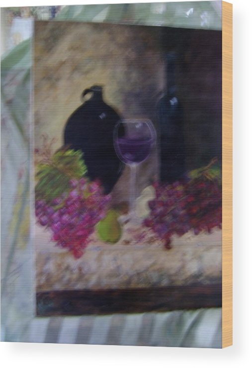 Oil Wood Print featuring the painting Wine Tasting by K