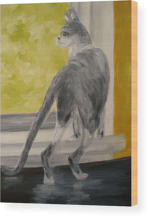 Cat Wood Print featuring the painting Winkie Wildcat by Carrie Mayotte