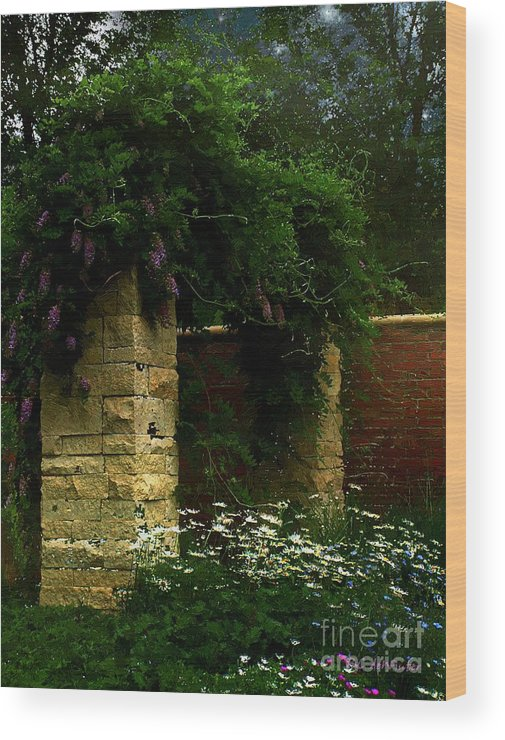 Arch Wood Print featuring the painting Wisteria In Moonlight by RC DeWinter