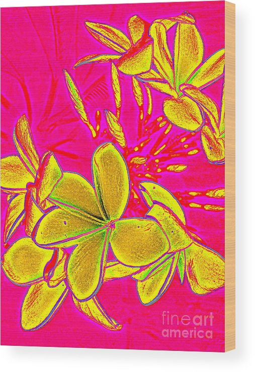 Yellow Wood Print featuring the painting Yellow Flowers On Pink Background by Debbie Wassmann