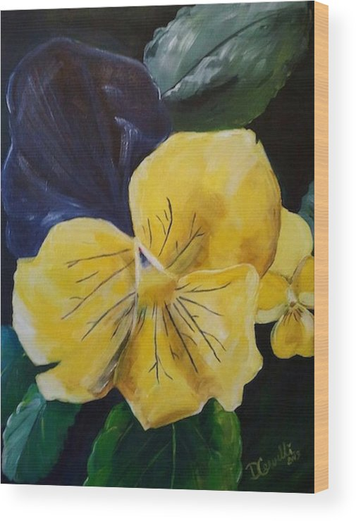 Flower Wood Print featuring the painting Yellow Pansy by Donna Cervelli