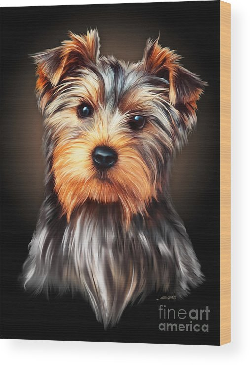 Spano Wood Print featuring the painting Yorkie Portrait By Spano by Michael Spano