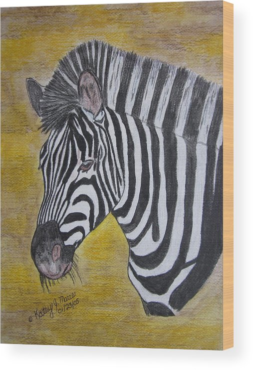 Zebra Wood Print featuring the painting Zebra Portrait by Kathy Marrs Chandler
