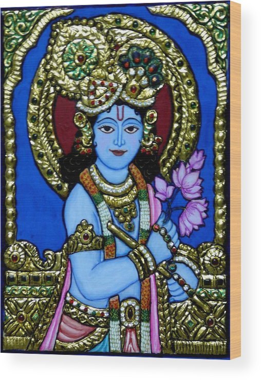 Lord Wood Print featuring the painting Tanjore Painting by Vimala Jajoo
