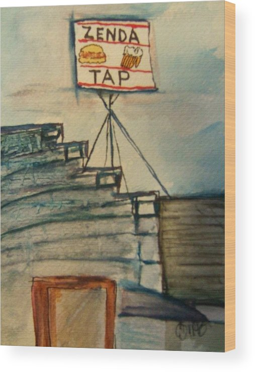 Bar Wood Print featuring the painting Zenda Tap by Elaine Duras