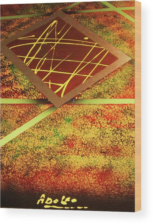 Abstract Wood Print featuring the painting 3-D by Adolfo hector Penas alvarado
