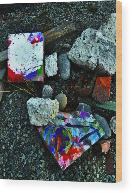 Art Wood Print featuring the photograph Art Amongst The Rubble by Steve Taylor