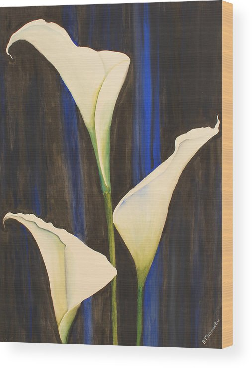 Floral Framed Prints Wood Print featuring the painting Callis From The Beach by Robert Thomaston