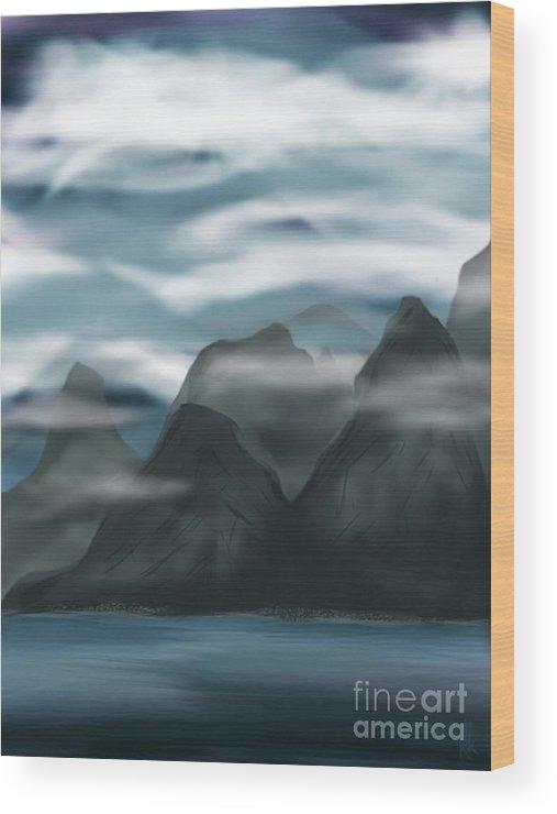 Calm. Mountains Wood Print featuring the digital art Calm by J Kinion