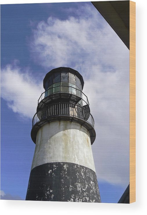 Lighthouse Wood Print featuring the photograph Cape Disappointment Lighthouse 001 by Pamela Patch
