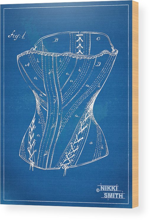 Corset Wood Print featuring the digital art Corset Patent Series 1884 by Nikki Marie Smith