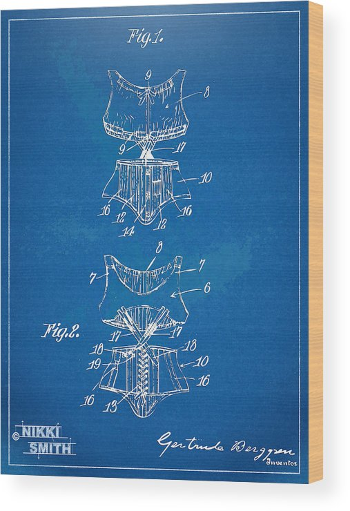 Corset Wood Print featuring the digital art Corset Patent Series 1907 by Nikki Marie Smith
