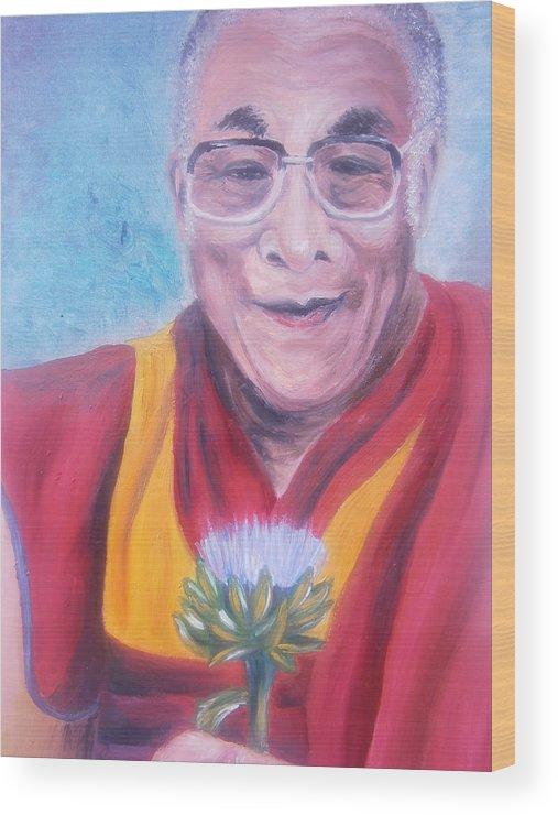 Dalai Lama Wood Print featuring the painting Dalai Lama-peace And Harmony by Bj A