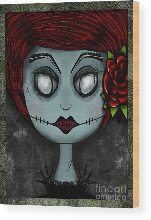 Lady Wood Print featuring the digital art Death Becomes Her by J Kinion