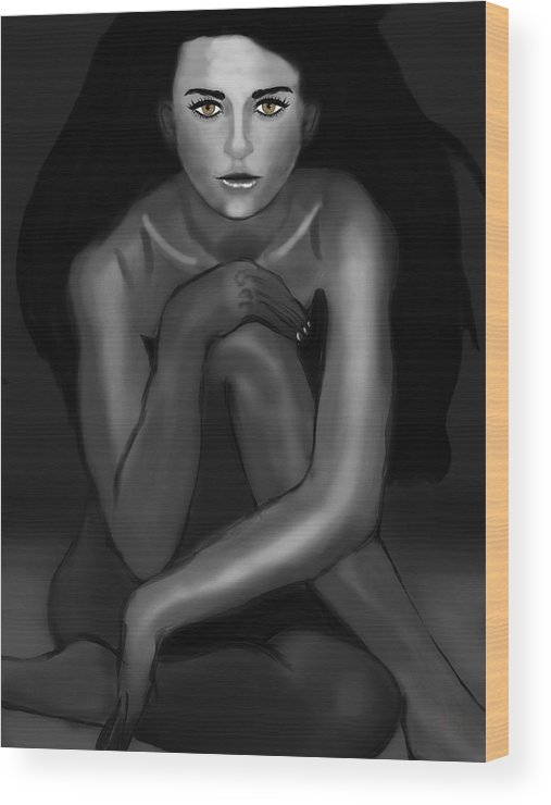 Demi Moore Wood Print featuring the digital art Demi Moore Black And White by Mathieu Lalonde